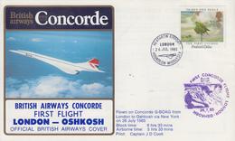 Enveloppe   1er   Vol    British  Airways    CONCORDE     LONDON - OSHKOSH    1985 - Concorde