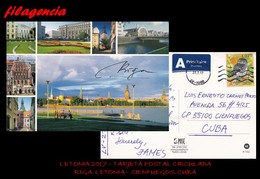 EUROPA. LETONIA. ENTEROS POSTALES. TARJETA POSTAL CIRCULADA 2017. RIGA. LETONIA-CIENFUEGOS. CUBA. BÚHOS - Letonia