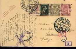 Carte Postale  (timbre Pré-imprimé Avec Valeurs Complémentaires) Ayant Circulé De BRUXELLES (IXELLES) Vers LISBONNE --> - WW II