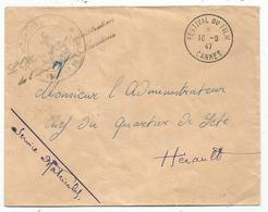 LETTRE FESTIVAL DU FILM CANNES 16.9.1947 + GRIFFE INSCRIPTION MARITIME QUARTIER DE CANNES - Marcophilie (Lettres)