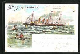 Lithographie Passagierschiff Auguste Victoria Auf Hoher See - Dampfer
