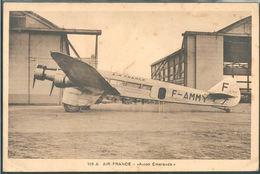 CARTE POSTALE PUBLICITAIRE AVIATION AIR FRANCE AVION DEWOITINE D 332 EMERAUDE ED. GODNEFF N° 109-A - 1919-1938