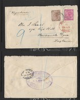 S.Africa, Natal. Registered Cover, 5d, REGISTERED DURBAN NATAL JU4 01 > NEWCASTLE ON TYNE, LONDON Transit - Natal (1857-1909)