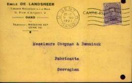 Carte Postale à Entête De EMILE DE LANDSHEER (tissages Mécanique à La Main) à GAND (1921) - Publicités