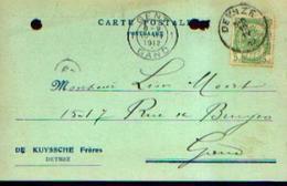 Carte Postale à Entête De DE KUYSSCHE Frères à DEYNZE (papiers Et Sachets En Gros – Imprimerie à Vapeur) (1912) - Publicités