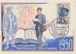 Carte  Maximum  1er   Jour   FRANCE   JOURNEE  Du  TIMBRE    MONTLUCON   1950 - Dag Van De Postzegel