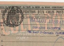 1924 Bulletin Expédition Colis Postal 96976 / Perforé Librairie Hachette Paris / Ballot De Librairie / Paris-Rennes PLM - Colis Postaux