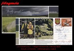 EUROPA. LETONIA. ENTEROS POSTALES. TARJETA POSTAL CIRCULADA 2017. RIGA. LETONIA-CIENFUEGOS. CUBA. AJEDREZ - Letonia