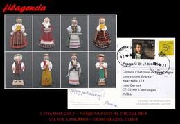 EUROPA. LITUANIA. ENTEROS POSTALES. TARJETA POSTAL CIRCULADA 2017. VILNA. LITUANIA-CIENFUEGOS. CUBA. MÚSICA. ARTESANÍA - Lituania