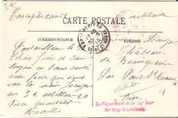 Seine Et Marne :- FONTAINEBLEAU LE VAGUEMESTRE DE LA 74° BATie  32° REGIMENT D'ARTILLERIE - Marcophilie (Lettres)