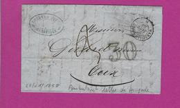 FRANCE Lettre De MARSEILLE Ambulant MARSEILLE A LYON H 1858 - 1849-1876: Classic Period