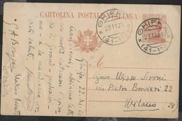 STORIA POSTALE REGNO - ANNULLO FRAZIONARIO DC -  GHIFFA/(41-118) 23.11.1924 SU INTERO MICHETTI - 1900-44 Victor Emmanuel III.