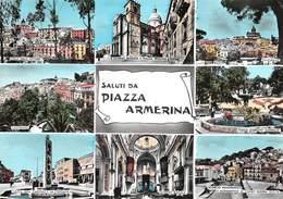 "0709 ""SALUTI DA PIAZZA ARMERINA (EN)"" VEDUTINE. CART. ILL. ORIG. SPED. 1966. - Italia"