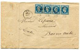 VOSGES De EPINAL GC 1402 Sur N°29 Bande De 4 Sur Env. Du 30/03/1869 Ou 1870 - Storia Postale