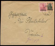 S8013 - Danzig Briefumschlag Mit Obersegmentstempel Gross Plehnendorf : Gebraucht - Dresden 1920, Seltener Stempel ,Be - Danzig