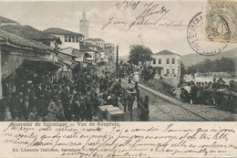 Salonique Keuprulu Arrivée Train 2 Timbres Type Blanc Levant Affranchi Austrian Post Jules Juda Abraham Amar Judaica - Griekenland