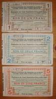 3 Billets De Nécéssité . Bléharies Ere Jollain Laplaigne Lesdain Rongy Wez .... 1 2 Et 5 Frs 01/12/14 - Collections