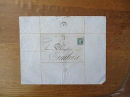 TIMBRE EMPIRE FRANC 20c CACHET N SUR LETTRE DU 4 Xbre 1862 CACHETS NANTES A PARIS 4 DEC 62 ET AMBOISE 5 DEC 62 - Marcophilie (Lettres)