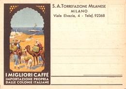 """0717 """" S.A. TORREFAZ. MILANESE - I MIGLIORI CAFFE' - IMPORT. PROPRIA DALLE COLONIE ITALIANE"""" CART. ILL. ORIG. NON SPED. - Pubblicitari"""