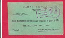 Carte Réponse Comité Départemental De Secours Aux Prisonniersde Guerre De L'AIN  Bourg En Bresse + Censure Eichstâtt - WW I