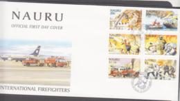 FIRE FIGHTING-  NAURU - 2002 - FIREFIGHTERS SET OF 6  ON ILLUSTRATED FDC - Firemen