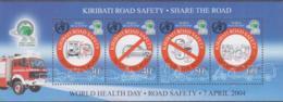 FIRE FIGHTING-  KIRIBATI  - 2004 - WORLD HEALTH DAY  SOUVENIR SHEET MINT NEVER HINGED - Firemen