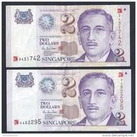 Singapore $2 X 2 Pcs Millennium 2000 Banknote Paper Money Very Fine (#89) - Singapore