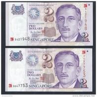 Singapore $2 X 2 Pcs Millennium 2000 Banknote Paper Money AU (#88) - Singapore