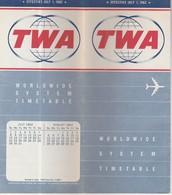 VIEILLE PUBLICITE AVIATION TWA HORAIRES En 1962 - Other