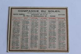 Calendrier Petit Format 1923 Assurance Compagnie Du Soleil  Paris 44 Rue De Chateaudun 7,5cm X 9,8cm - Calendari