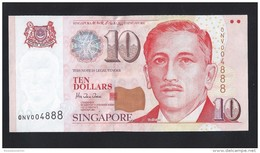 RARE !!!  Singapore $10 Dollars Portrait Series Very Lucky Number Banknote ONV004888 UNC (#85) - Singapore