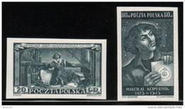 POLAND 1953 RARE NICHOLAS COPERNICUS BLACK PROOF SET OF 2 MNH (NO GUM) ASTRONOMY ASTRONOMERS SPACE - 1944-.... République