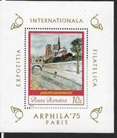 ROMANIA - 1975 - ESPOSIZIONE FILATELICA - ARPHILA '75 PARIS -  FOGLIETTO NUOVO ** NH (YVERT BF 118 - MICHEL 120) - Filatelistische Tentoonstellingen