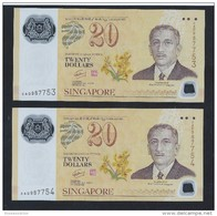 Pair Of 2 Pcs. 2007 SINGAPORE BRUNEI  POLYMER $20 Running Number CURRENCY BANKNOTE (#66) - Singapore