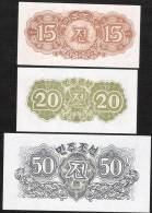 KOREA NORTH  P5-7  15,20,50 CHON 1947   UNC. - Korea (Nord-)