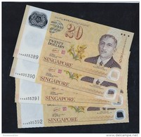 Lot Of 4 Pcs. 2007 SINGAPORE BRUNEI  POLYMER $20 Running Number CURRENCY BANKNOTE (#69) - Singapore