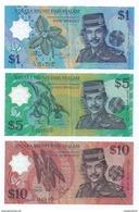 Set Of 3 Pcs. Brunei 1996 Sultan Polymer $1 $5 $10 Banknotes (#114) - Brunei