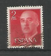 ESPAÑA BASICA FRANCO SELLO 2 PESETAS ROJO - 1951-60 Usados