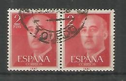 ESPAÑA BASICA FRANCO SELLO 2 PESETAS ROJO PAREJA MAT TOLEDO - 1951-60 Usados