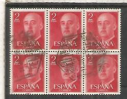 ESPAÑA BASICA FRANCO SELLO 2 PESETAS ROJO BLOQUE DE 6 MAT CORREO AEREO TENERIFE - 1951-60 Usados