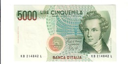 5000 LIRE Bellini Serie B 1988 Q.fds/fds  LOTTO 2723 - [ 2] 1946-… : Républic