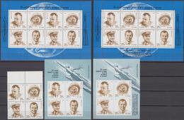 Russia, USSR 06.04.1991 Mi # 6085-88. 6085-88 Kleinbogen & OVPT, Bl 218-19, Cosmonautics Day MNH OG - Nuevos
