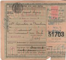 1924 / Bulletin Expédition Colis Postal N°51703 / Timbre N°30 / Envoi Paquet Boyaux BOURDEAU 44 / Gare Nantes Etat - Colis Postaux