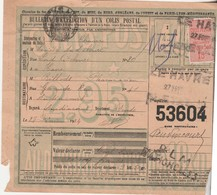 1924 / Bulletin Expédition Colis Postal N°53604 / Timbre N°30 / Envoi Rhum Sté Andalouse / 76 Le Havre - PLM Batignolles - Colis Postaux