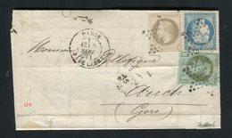 Rare Lettre De Paris Pour Auch ( 5 Septembre 1871 ) Avec Les N° 25 - 27 & 37 - Marcophilie (Lettres)