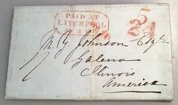 """""""PAID AT LIVERPOOL 1849"""" Transatlantic Mail Paket Letter To Galena ILLINOIS USA (cover GB Lettre SHIP LETTER US Brief - ...-1840 Préphilatélie"""