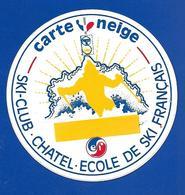 A.C. Ef SKI-CLUB. CHATEL Carte Neige - Autocollants