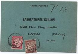 DEC. 1925 GRAND-LIBAN Beyrouth Carte Taxée Comme Lettre LYON Première Date Connue 40c Rose BANDEROLE DUVAL - Segnatasse
