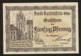 Notgeld  Bartenstein 50 Pf 1921 - [11] Lokale Uitgaven
