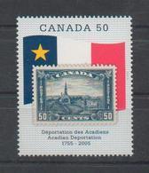Canada 2005 Déportation Des Acadiens Neuf , Timbre Sur Timbre , Drapeau - Canada 2005 Acadian Deportation Mint Stamp - Francobolli Su Francobolli